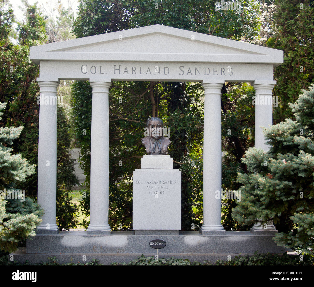 Colonel Harland Sanders Grave in Cave Hill Cemetery Louisville Kentucky Stock Photo