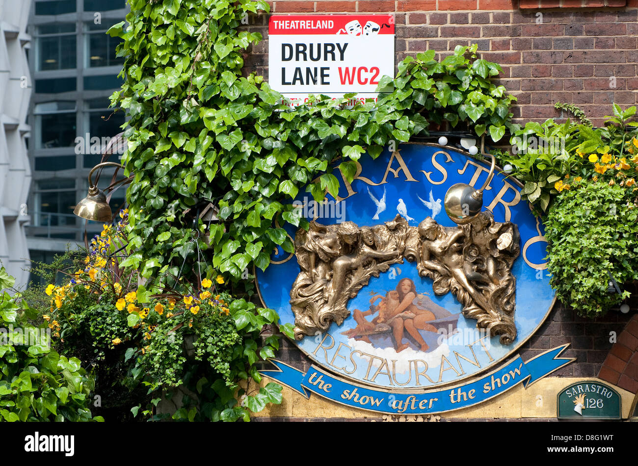 sarastro restaurant sign, drury lane, london, england - Stock Image