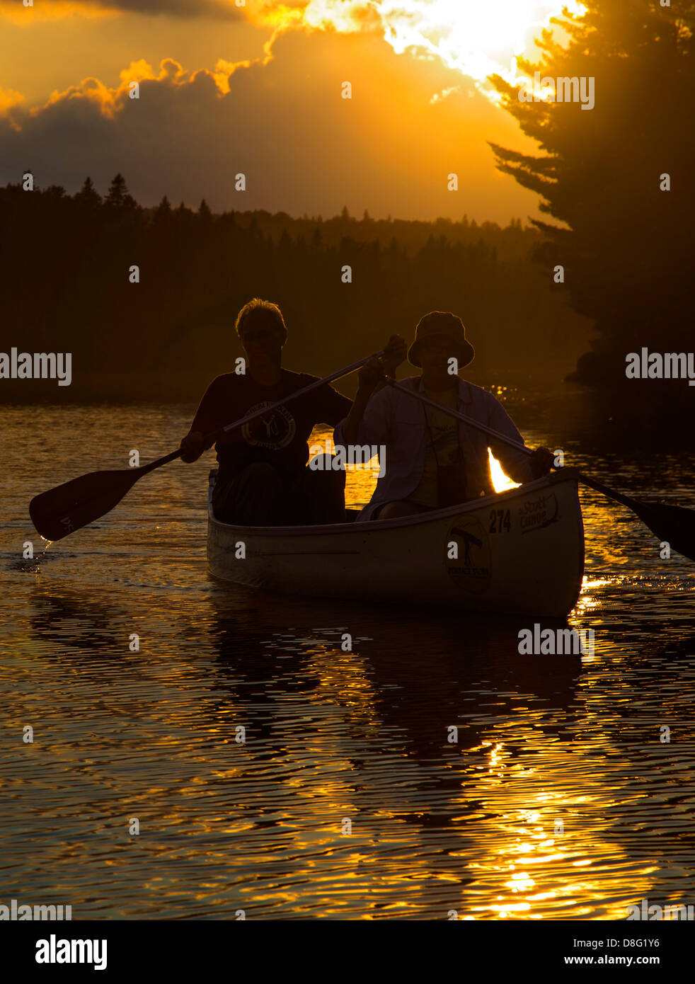Algonquin Provincial Park, Ontario Canada - A canoe at sunset on Tom Thomson Lake. - Stock Image