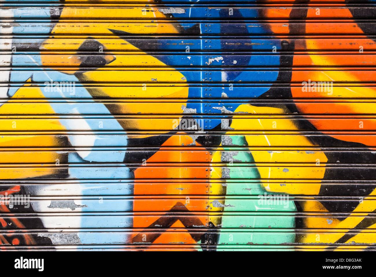 Vibrant 3d Graffiti Background In Metallic Surface Stock Photo