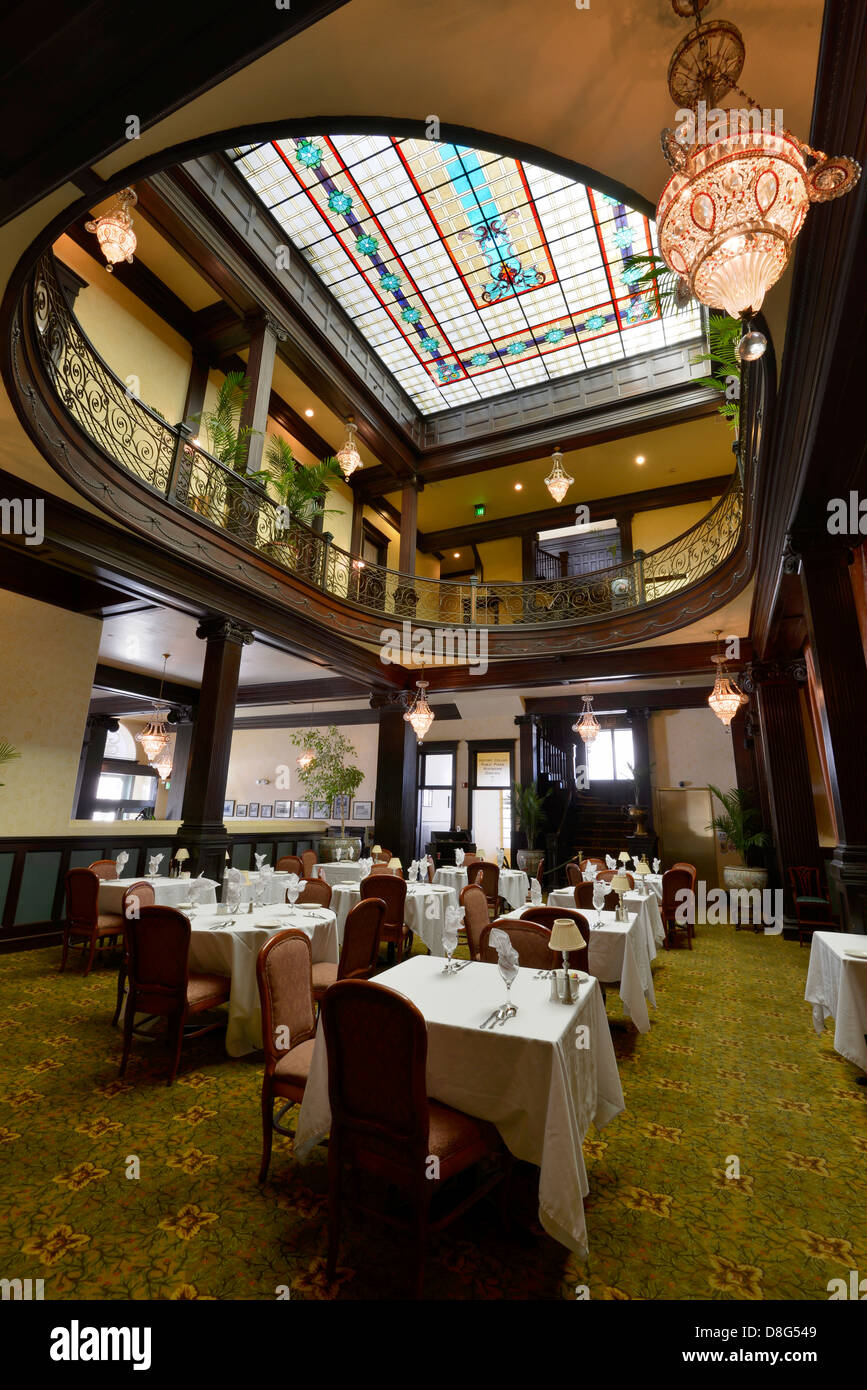 Palm Court Dining Room In The Historic Geiser Grand Hotel In Baker Stock Photo Alamy