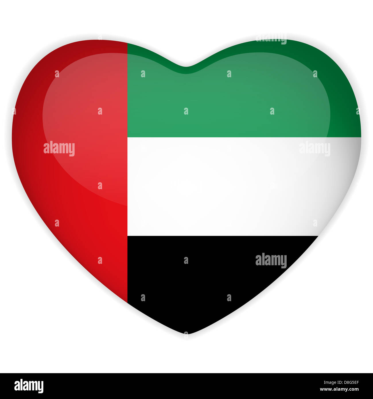 Vector - Emirates Flag Heart Glossy Button - Stock Image