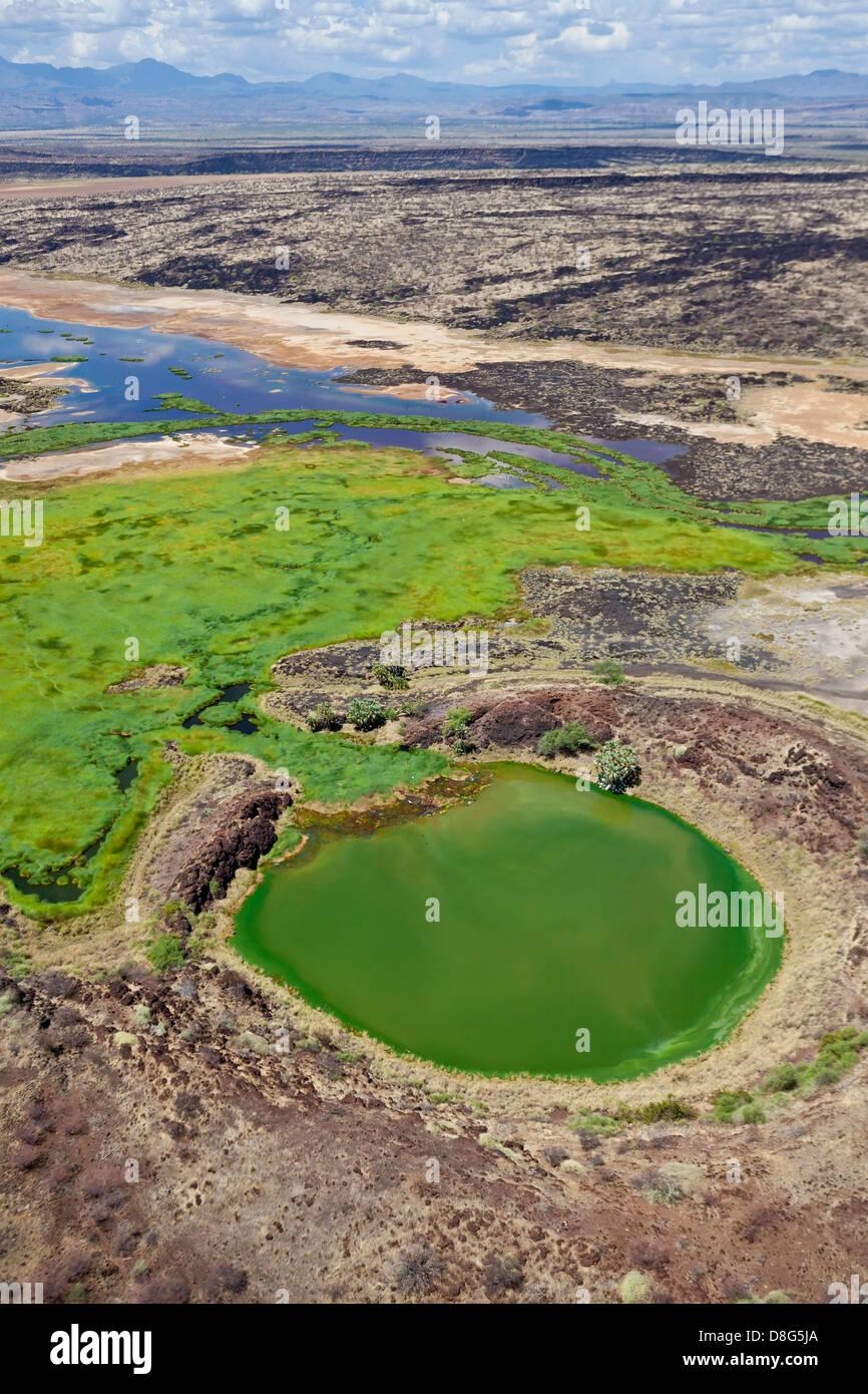 Crater lake adjacent to the Suguta river. Great Rift Valley. Kenya - Stock Image