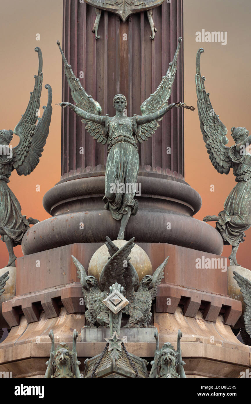 The Columbus Monument  at the lower end of La Rambla, Barcelona, Catalonia, Spain, Angels encircle the lower tier - Stock Image