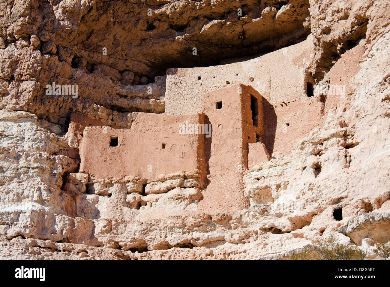 Closeup on cliff dwellings at Montezuma Castle National Monument near Camp Verde, Arizona Stock Photo