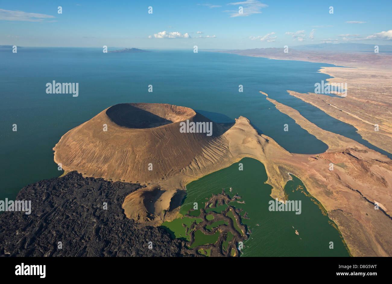 Aerial view of Nabuyatom Crater,south of Lake Turkana.Kenya - Stock Image