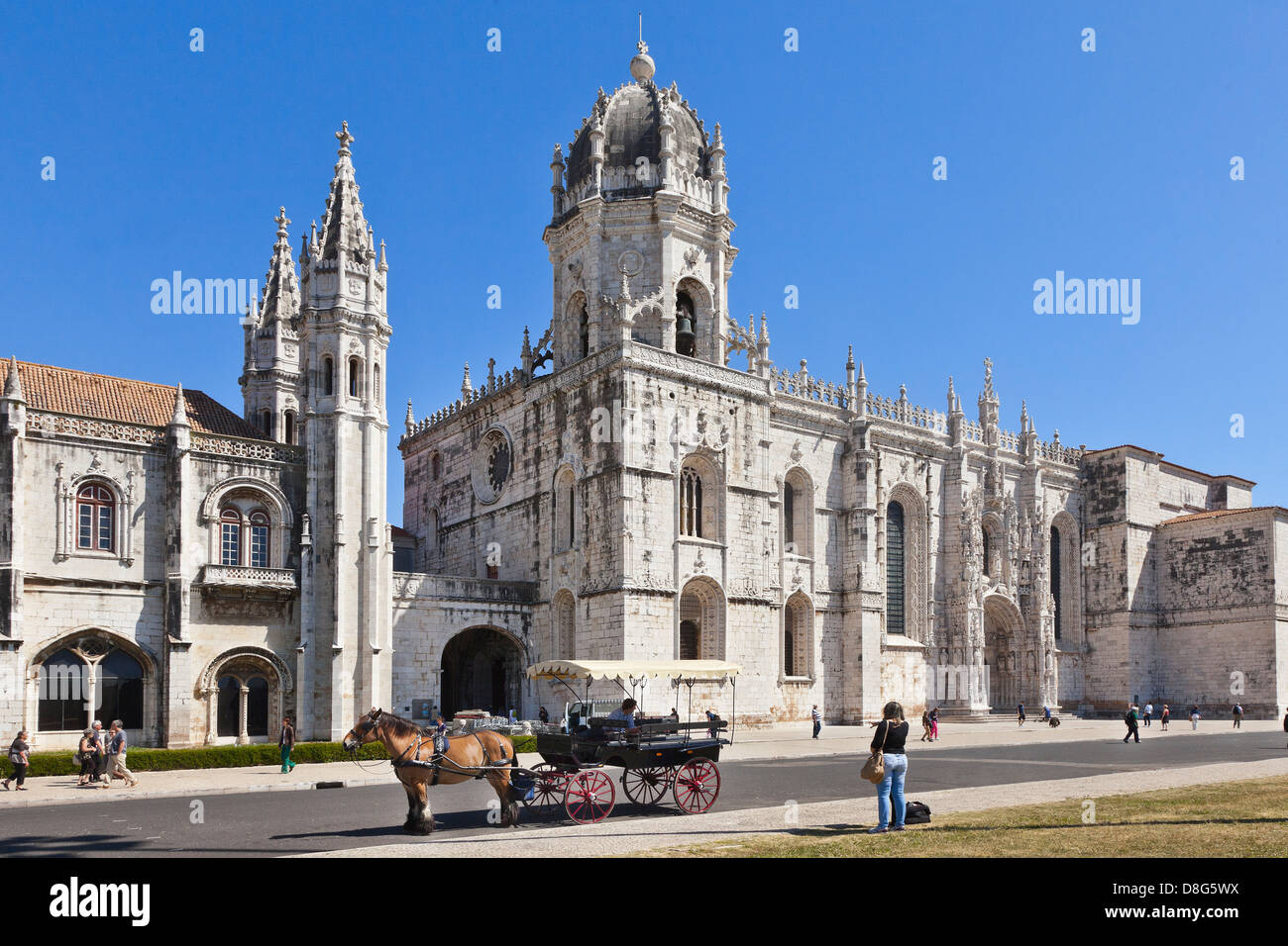 Lisbon museum of archaeology; The National Archaeology Museum of Lisbon, Portugal. Front facade with a tourist horse - Stock Image