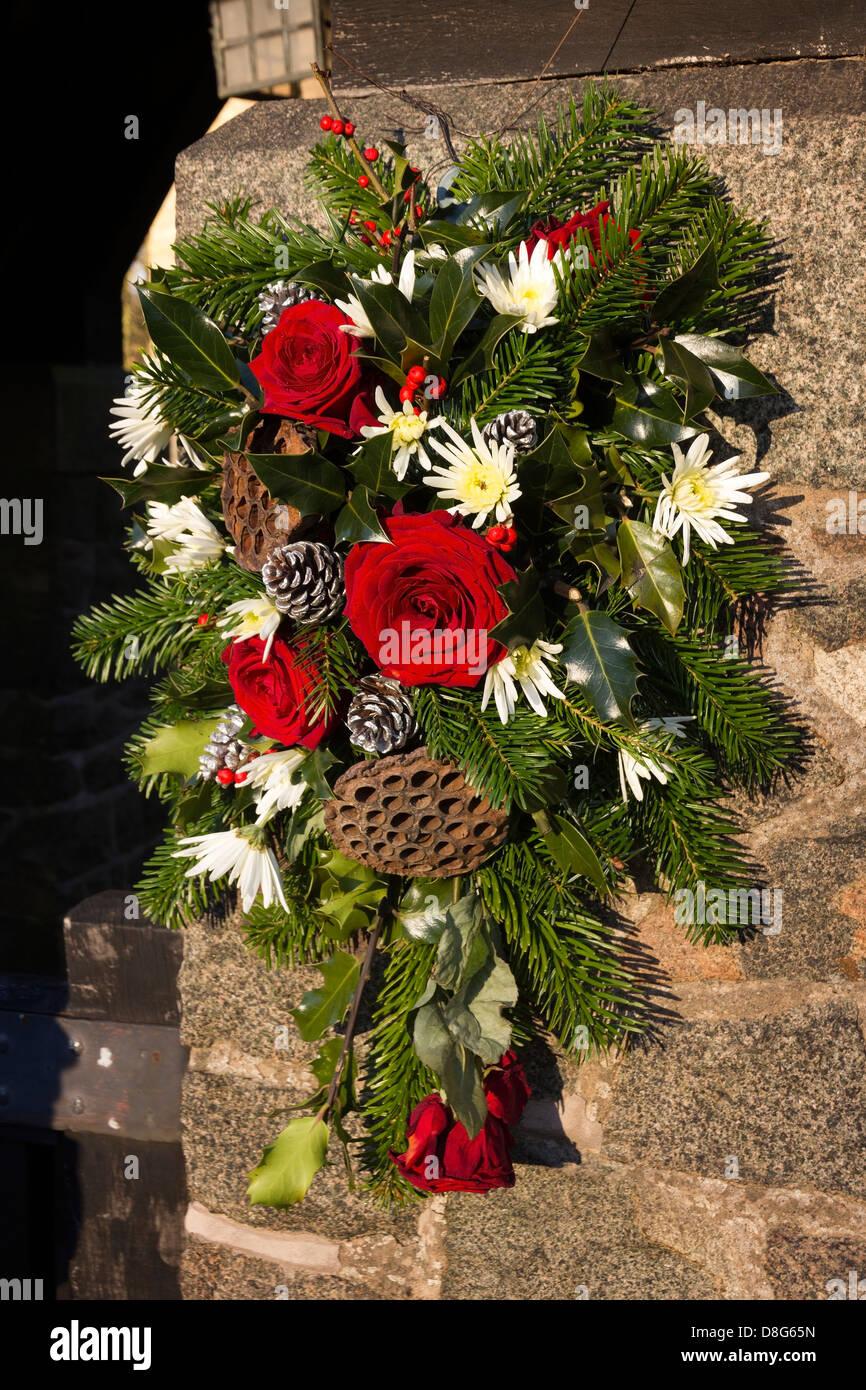 Decorative Festive Wreath By Church Entrance All Saints Church