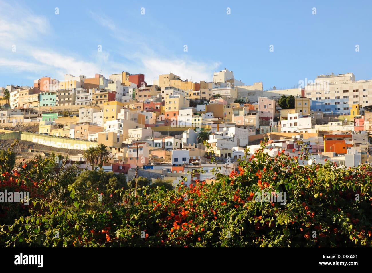 Residential area on a hilltop, Las Palmas de Gran Canaria, Gran Canaria, Canary Islands, Spain, Europe - Stock Image