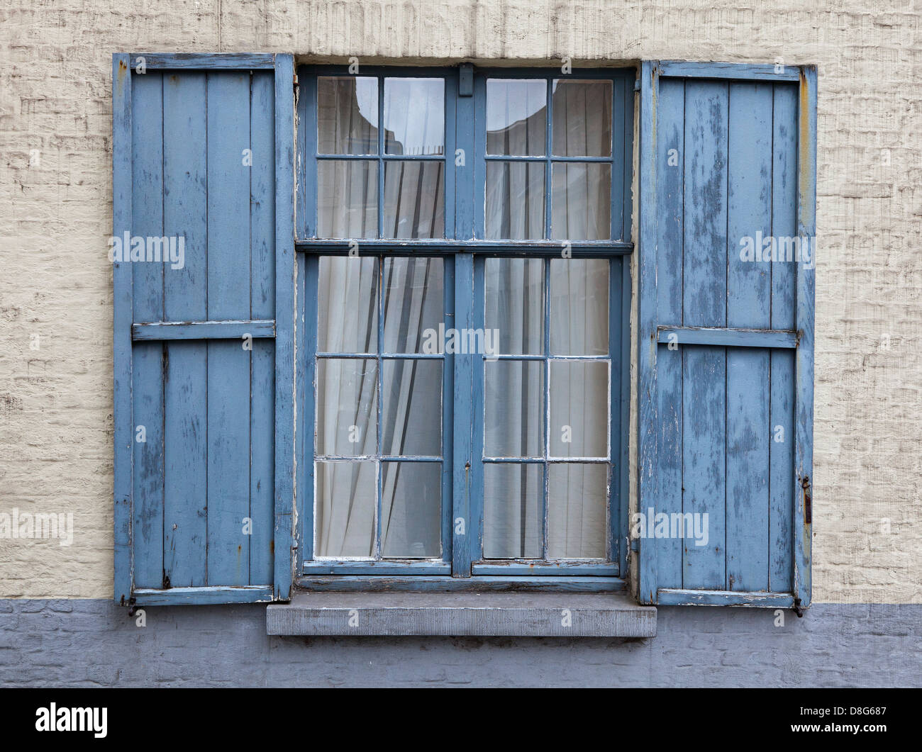 Shabby Chic, blue vintage window frame with shutters Stock Photo ...