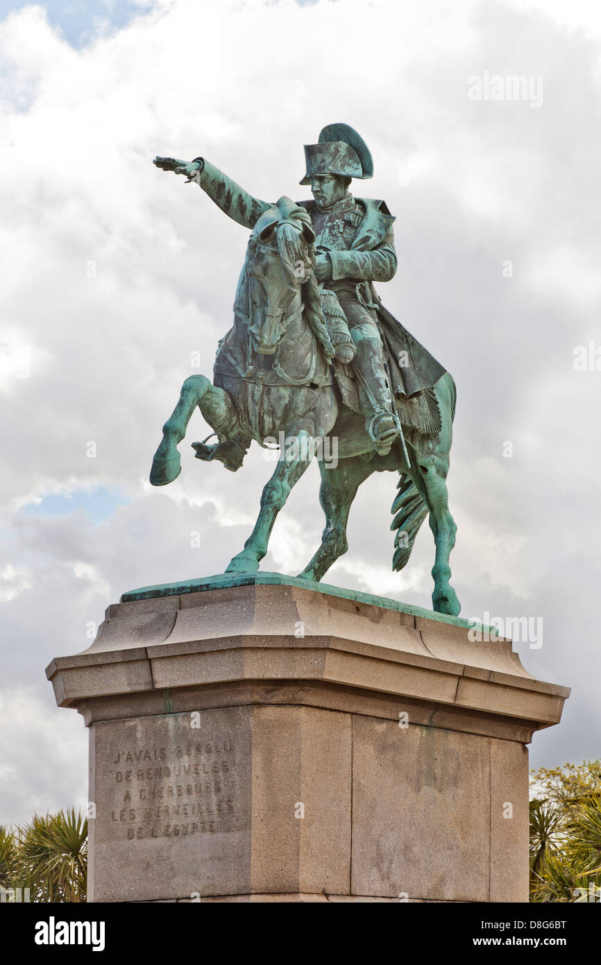 Bronze equestrian statue, Napoléon Bonaparte with his first horse, Cherbourg, France - Stock Image