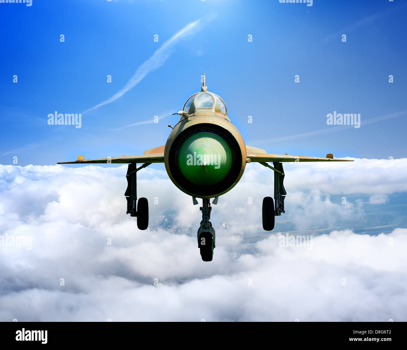 MiG-21 Soviet multipurpose jet plane in flight - Stock Image