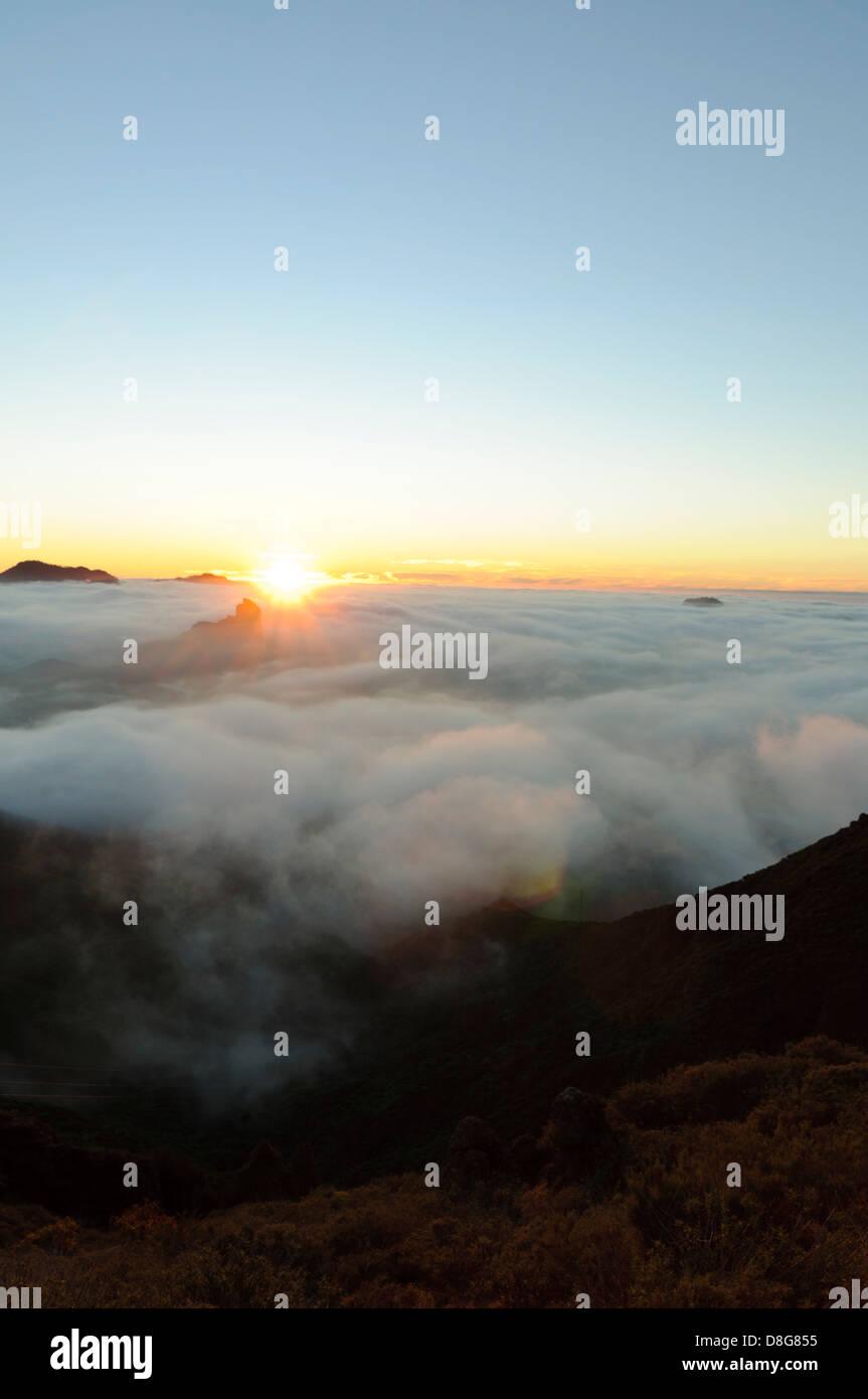 Lookout Cruz de Tejeda at sunset, Gran Canaria, Canary Islands, Spain, Europe - Stock Image