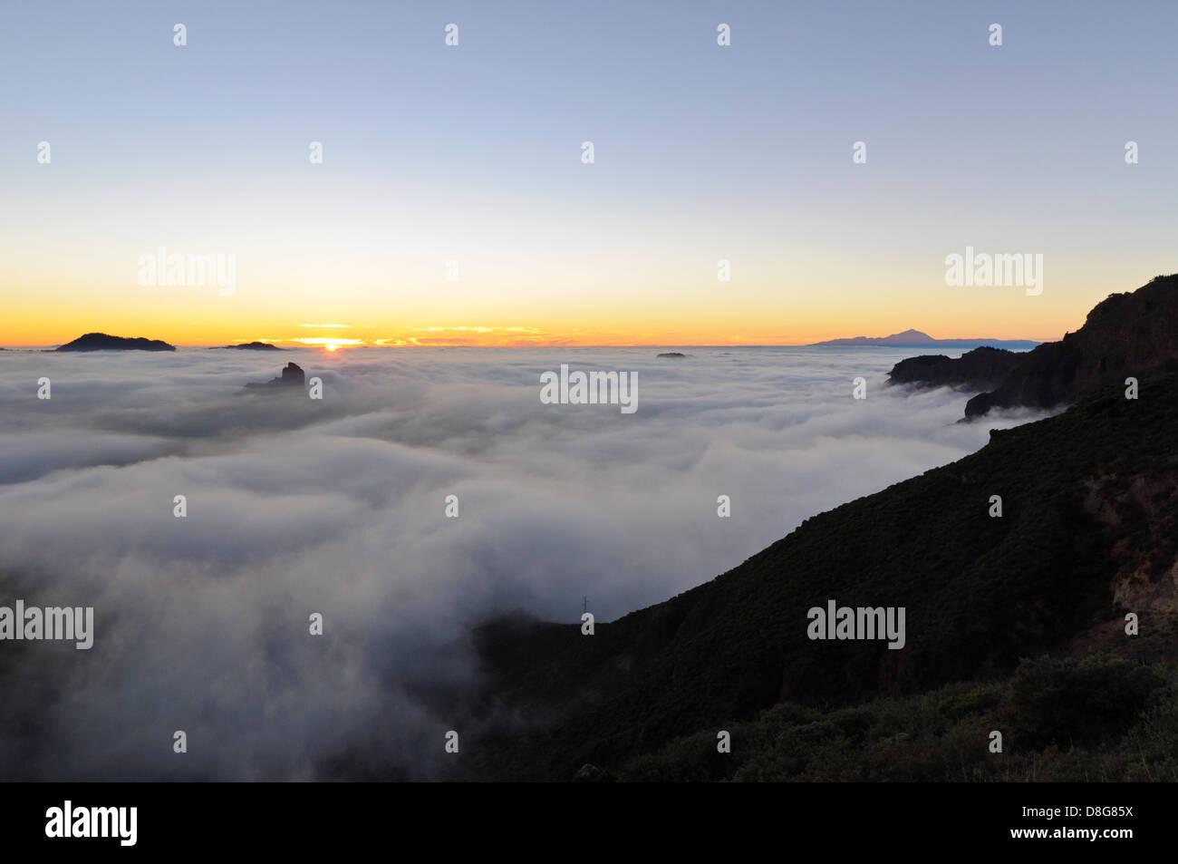 Lookout Cruz de Tejeda with view at Teide volcano, Gran Canaria, Canary Islands, Spain, Europe - Stock Image