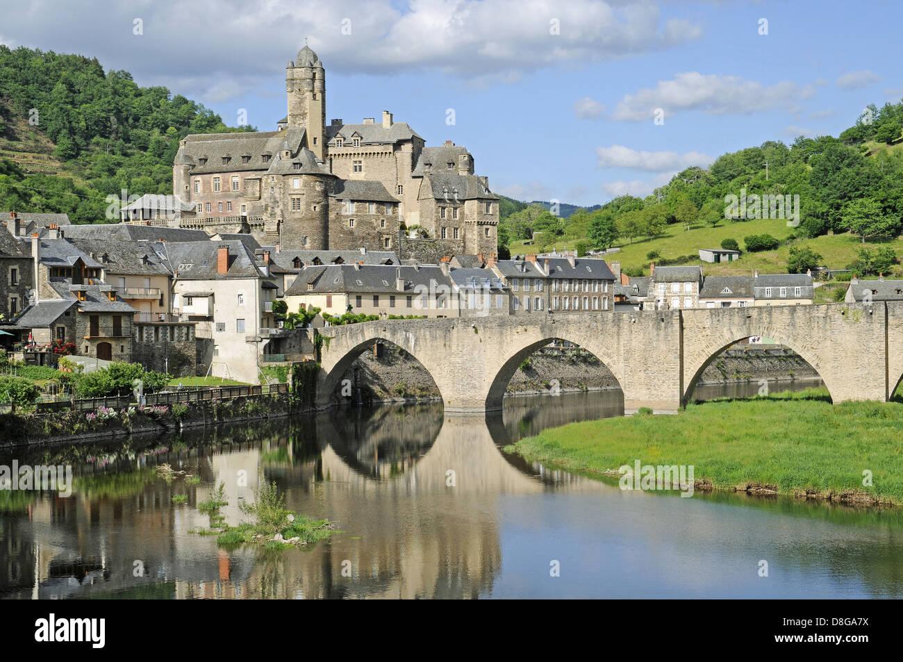 Pont sur le Lot bridge - Stock Image