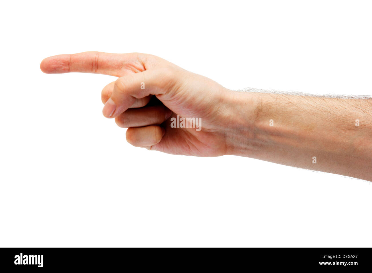 Human hand point with finger isolated on white. - Stock Image