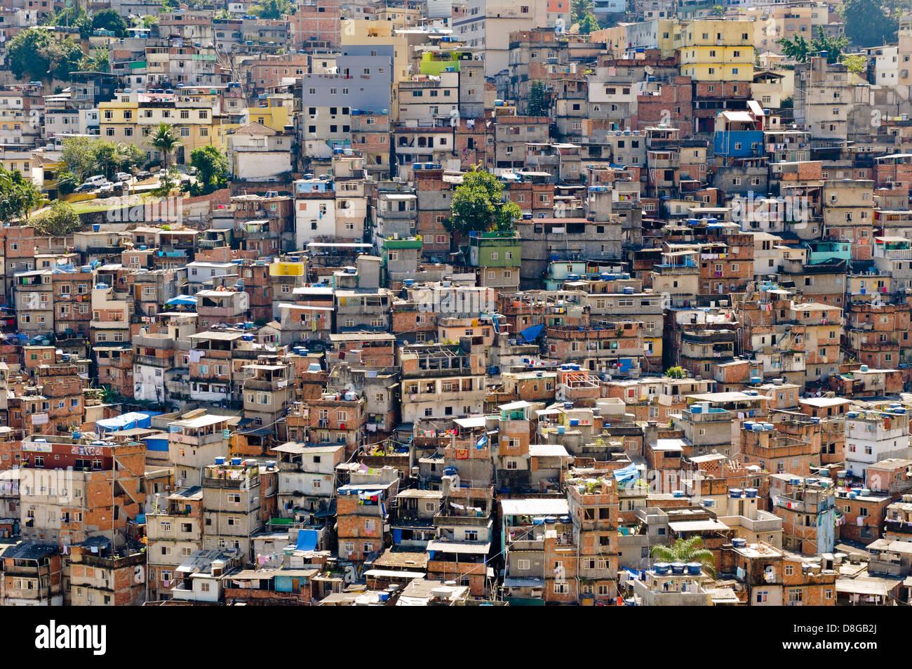 Old Slum of Rocinha, Housing, Rio de Janeiro, Brazil - Stock Image