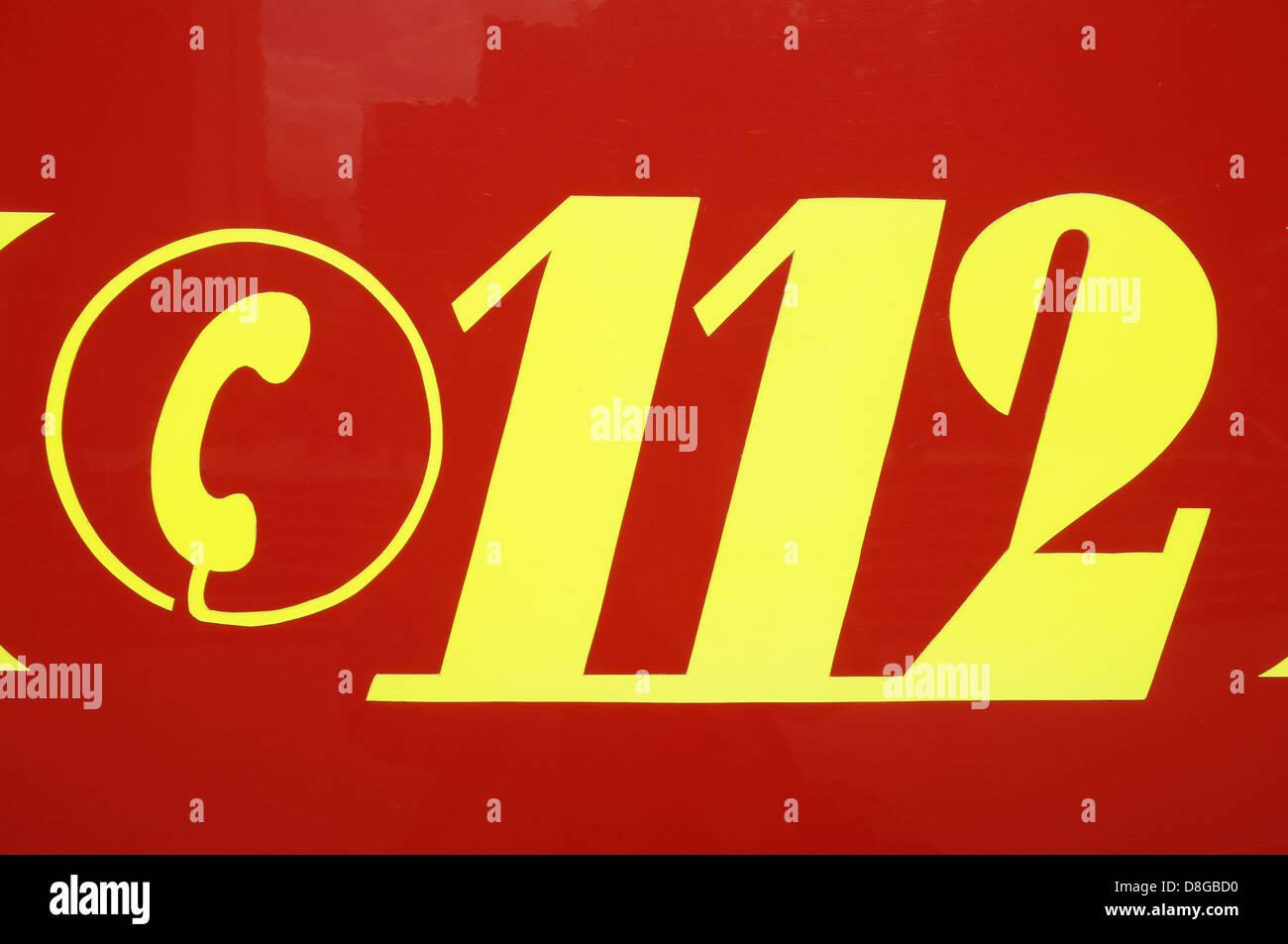 German 112 emergency number Stock Photo