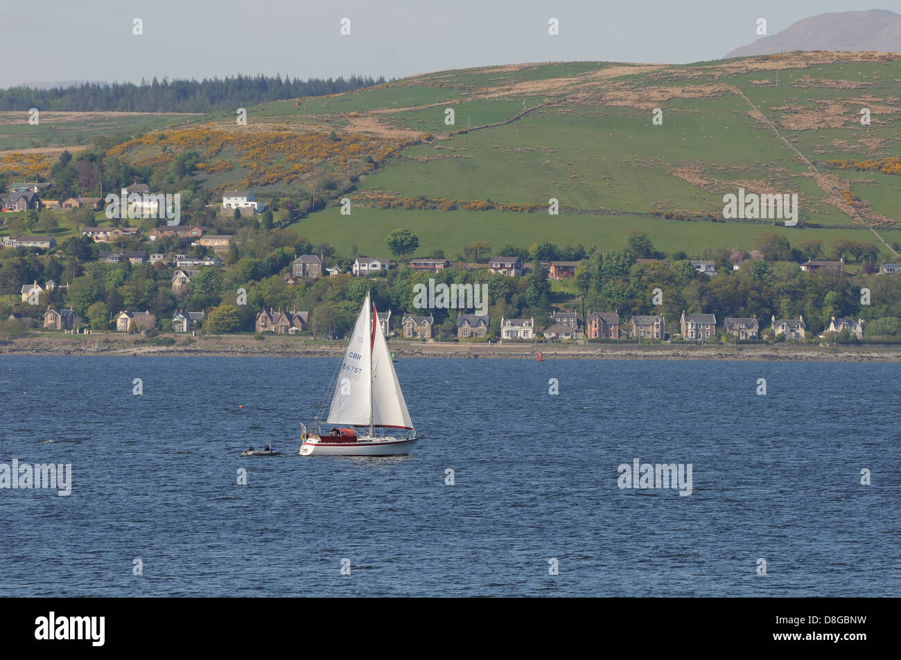 Sailing yacht on the River Clyde near Gourock, Scotland, UK Stock Photo