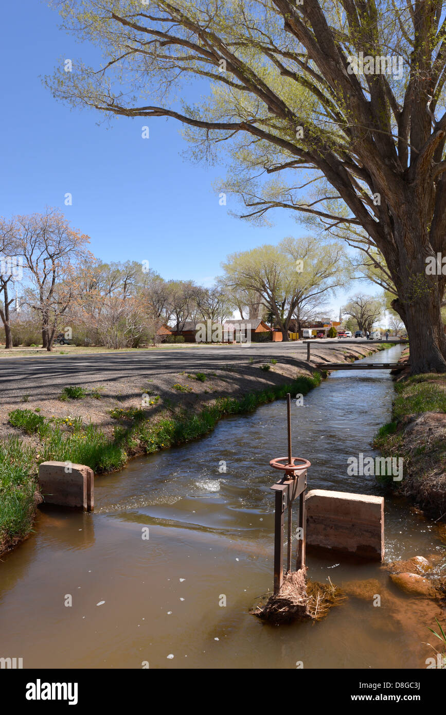 Irrigation ditch and cottonwood trees along the main street in Torrey, Utah. - Stock Image