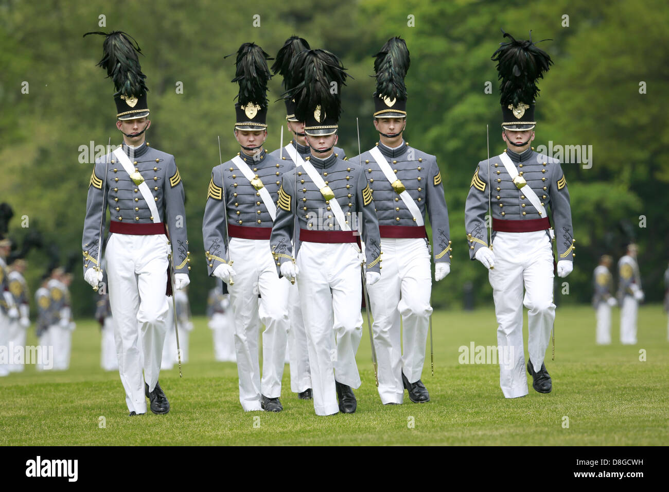 US Army Corps of Cadets march on the Plain during the annual Alumni Review at the West Point Military Academy May - Stock Image