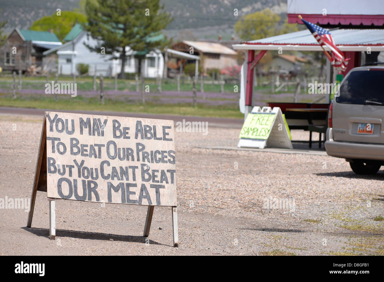 Humorous sign at a jerky store in Levan, Utah. - Stock Image
