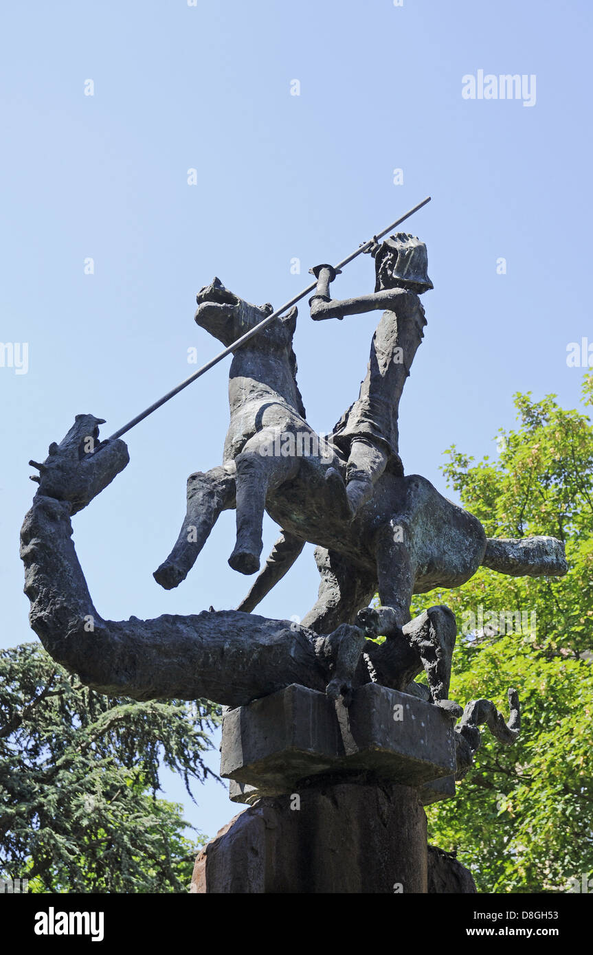 Sculpture of St. George and Dragon - Stock Image