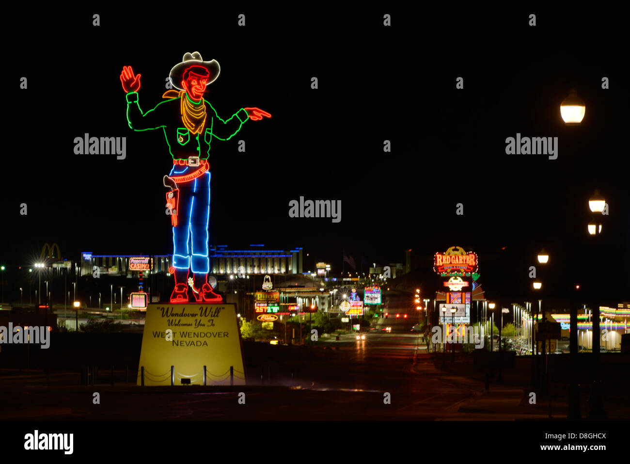 'Wendover Will' neon welcome sign at the edge of West Wendover, Nevada. - Stock Image