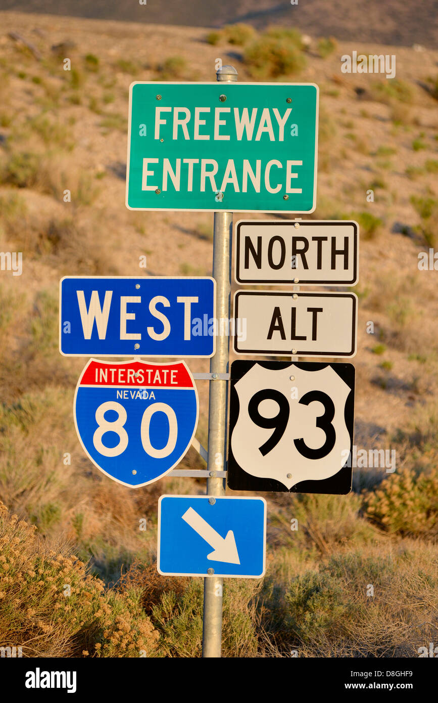 Freeway entrance sign on Interstate 80 in Nevada. - Stock Image