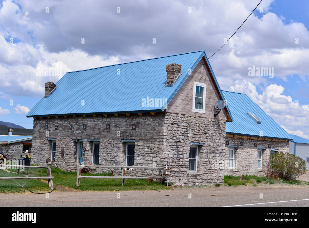 Old stone building that was once a stage stop in Dinner Station, Nevada. - Stock Image