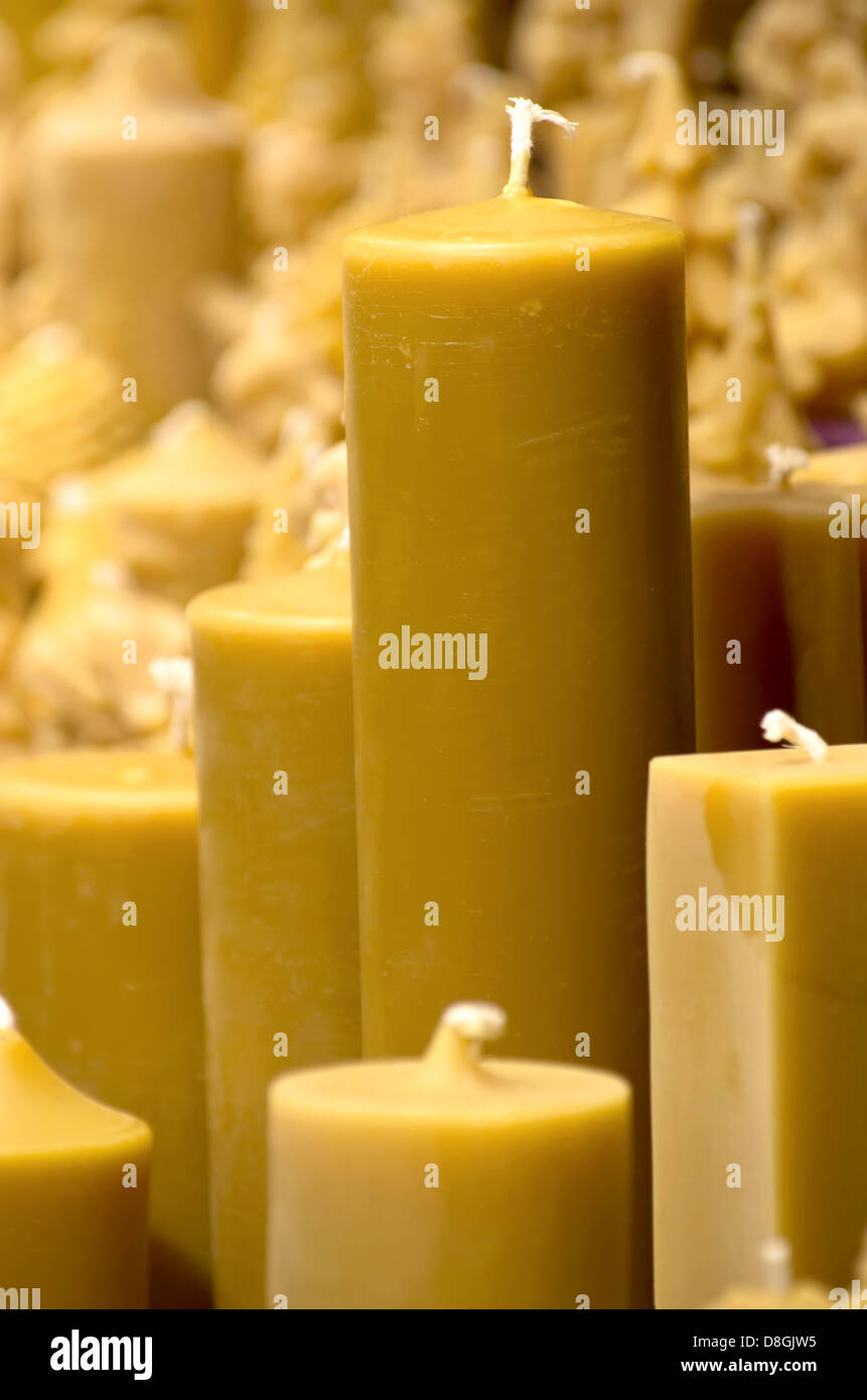 Beeswax candles - Stock Image