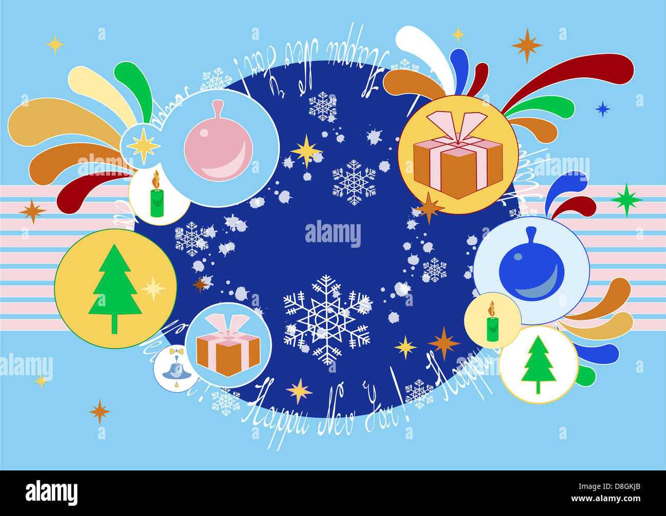 Christmas Greeting card  with abstract icons - Stock Image