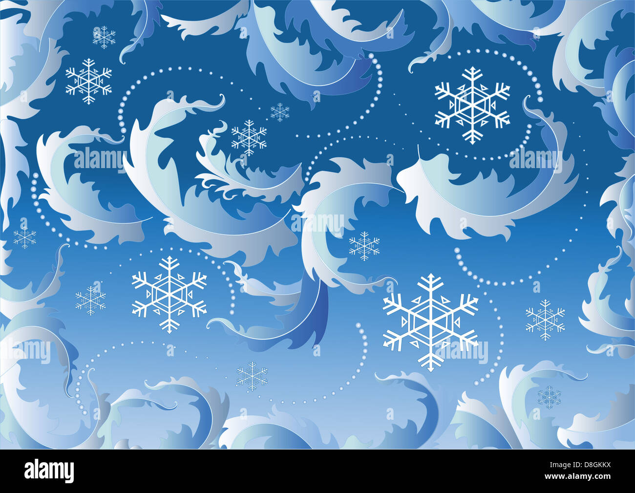 Blue background with snowflake - Stock Image