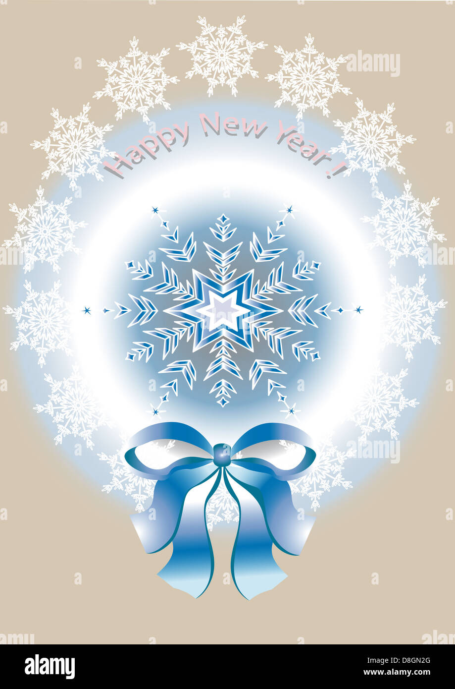 Card with the New Year and Merry Christmas - Stock Image