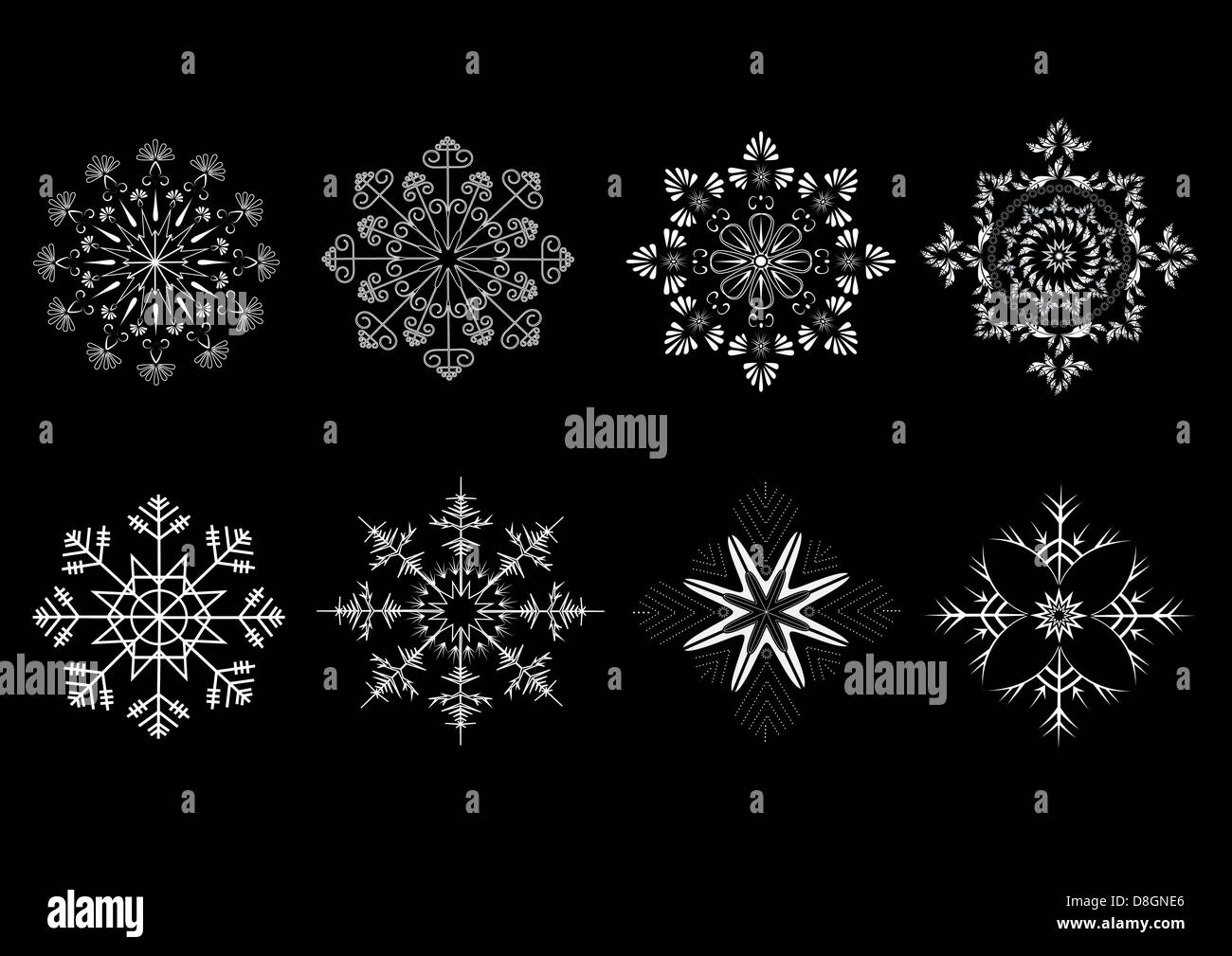 Options snowflakes ornaments - Stock Image