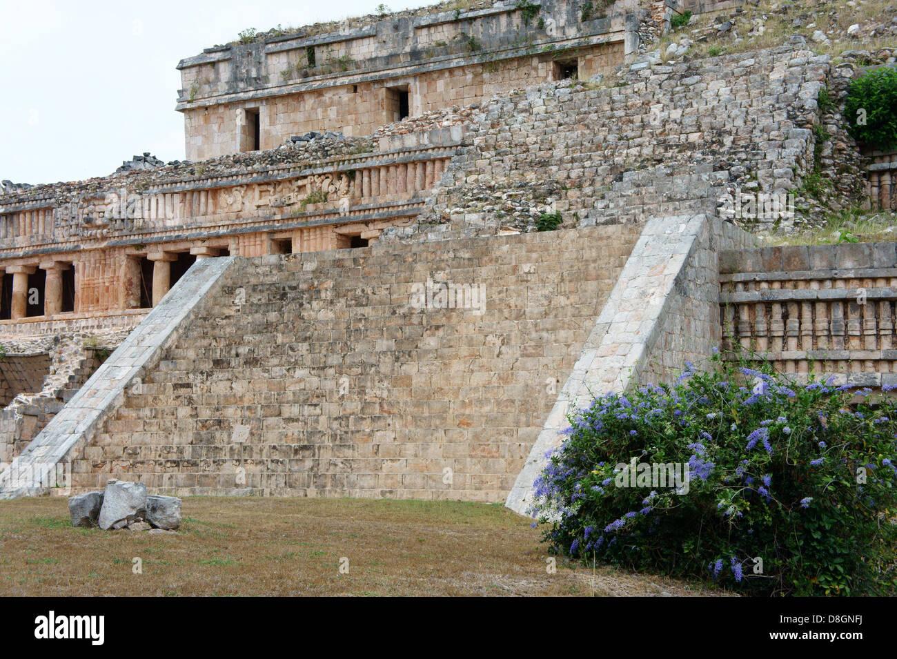 The Palace or El Palacio at the Mayan ruins of Sayil, Yucatan, Mexico Stock Photo