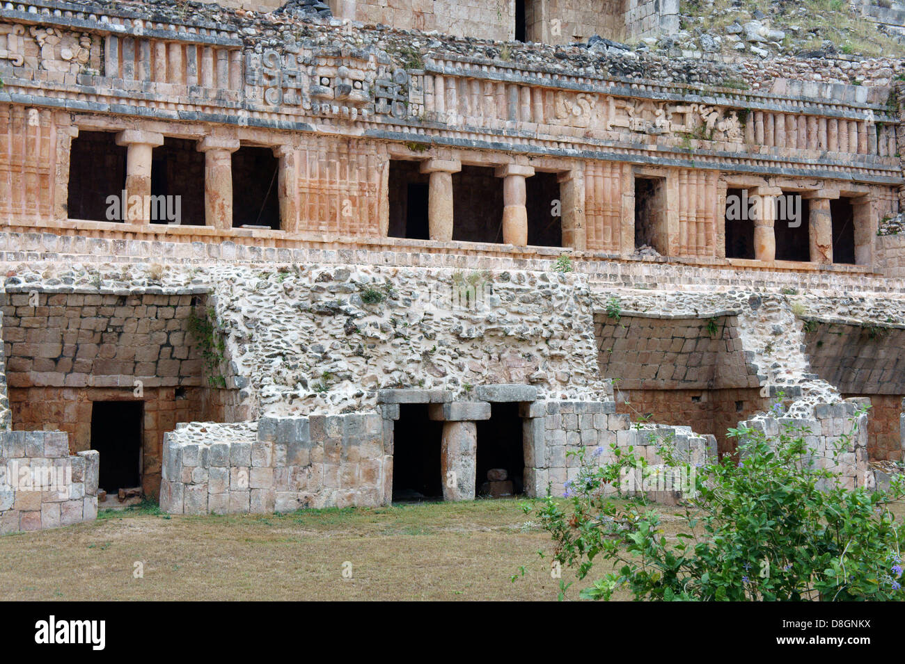 The Palace or El Palacio at the Mayan ruins of Sayil, Yucatan, Mexico Stock Photo