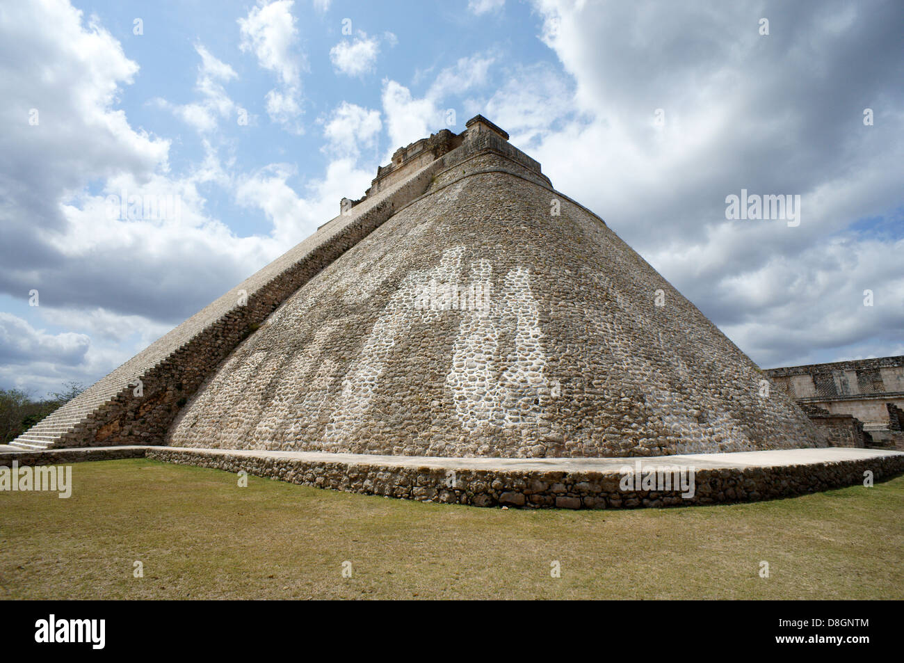 Pyramid of the Magician at the Mayan ruins of Uxmal, Yucatan, Mexico - Stock Image