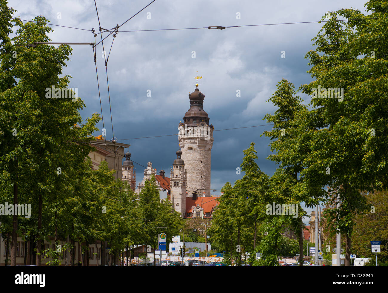 View of the Neues Rathaus in Leipzig from the south - Stock Image