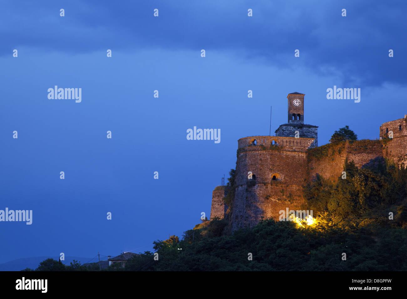 Albania, Gjirokastra, UNESCO; Castle, Gjirokaster, Gjirokastër , Albanien, Gjirokastra, UNESCO Welterbe; Burg - Stock Image