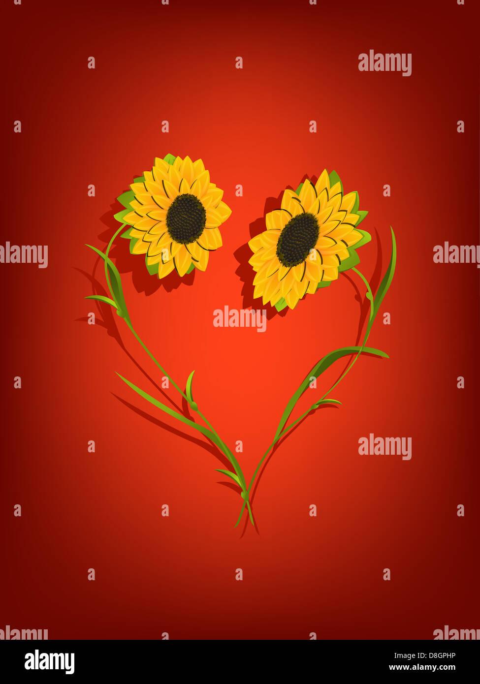 Sunflowers decorative background - Stock Image