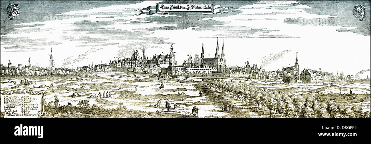 Panoramic view of the Berlin skyline, Berlin, Germany, Europe,1650, 17th Century, Stock Photo