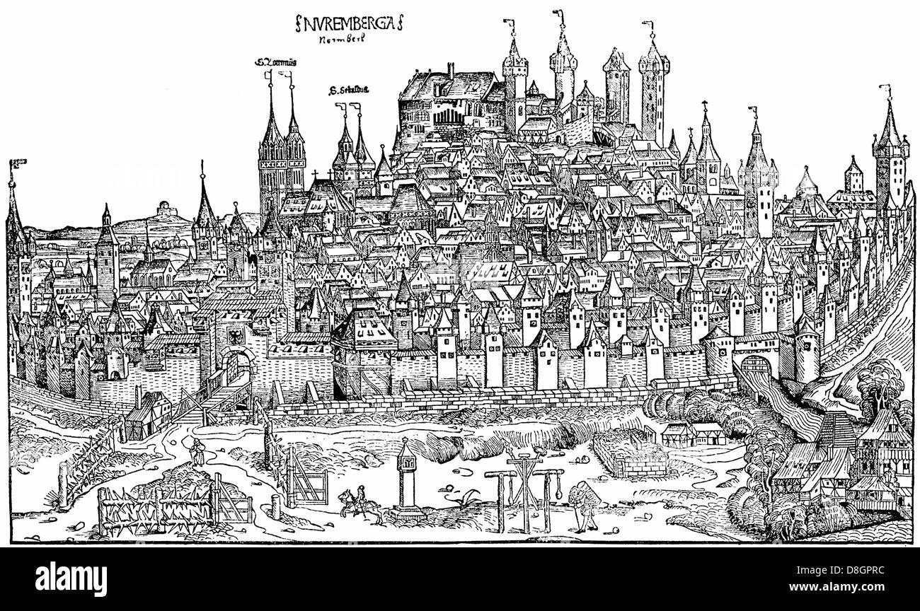 cityscape of Nuernberg, 15th century, Germany, Europe, - Stock Image