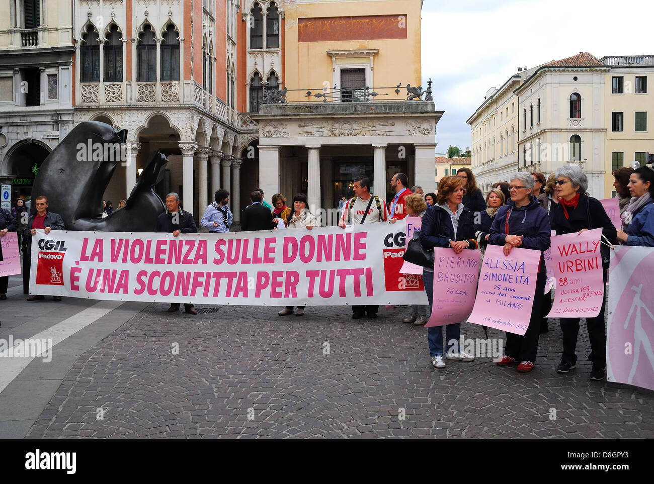 Tuesday, May 28, 2013, Padova, Italy: flash mob against violence on women. 124 women killed in 2012, 29 women killed - Stock Image
