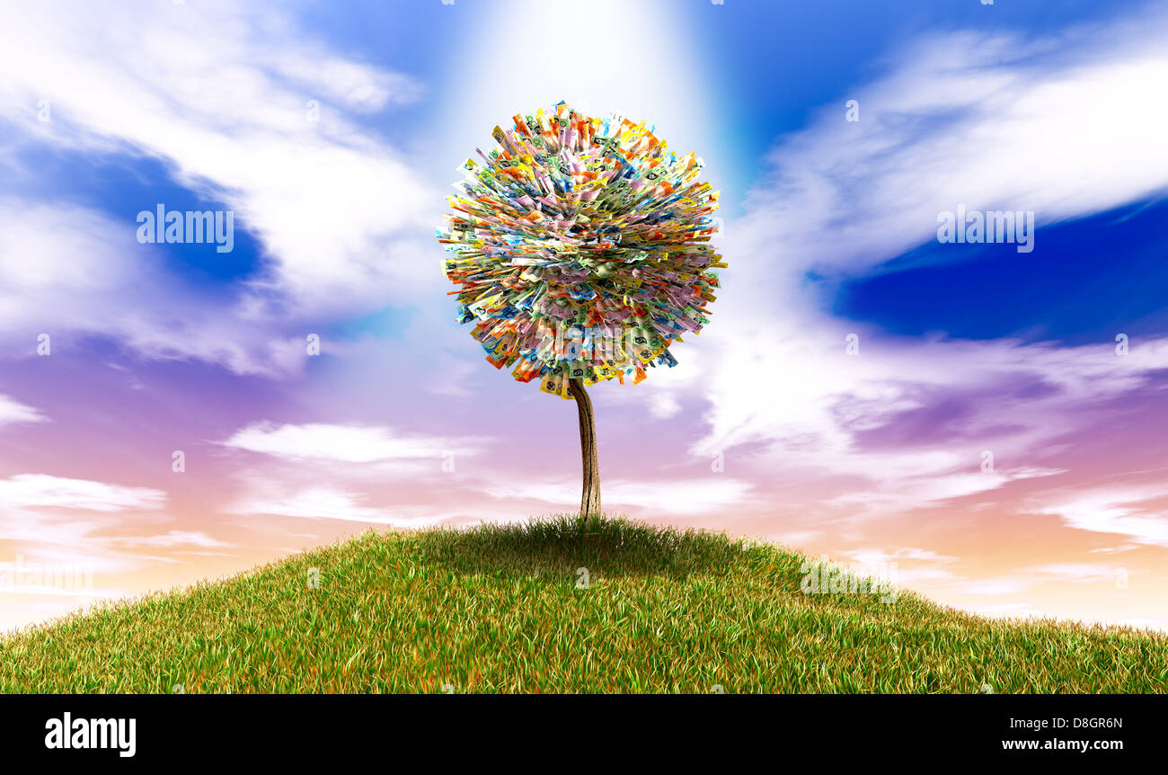 A highlighted stylised tree with leaves of australian dollar bank notes on a grassy hill with a blue sky backdrop - Stock Image