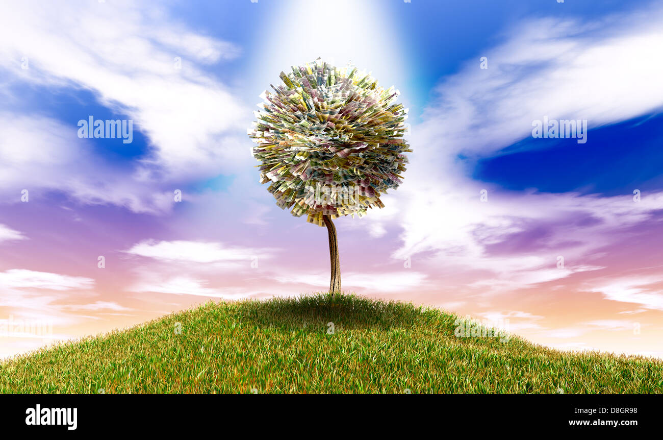 A highlighted stylised tree with leaves of euro bank notes on a grassy hill with a blue sky backdrop - Stock Image