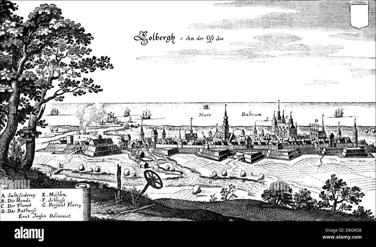 Panoramic view of Kołobrzeg, Kolberg, Colberg, Westpommern, Poland, 17th Century, Europe - Stock Image