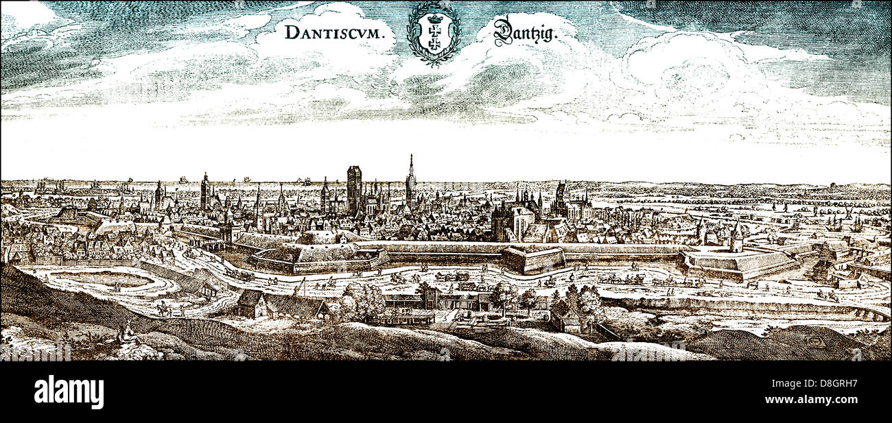 Panoramic view of Danzig or Gdańsk, 17th century, Poland, Europe, - Stock Image