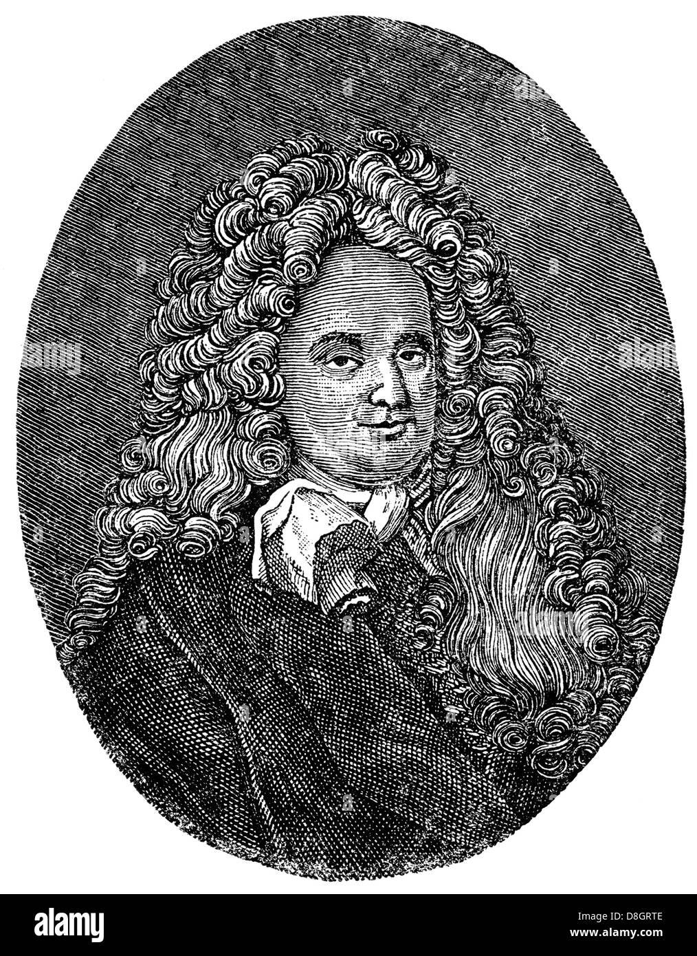 Eberhard von Danckelmann, 1643 - 1722, a German official who served as Prime Minister of Brandenburg-Prussia, 18th - Stock Image