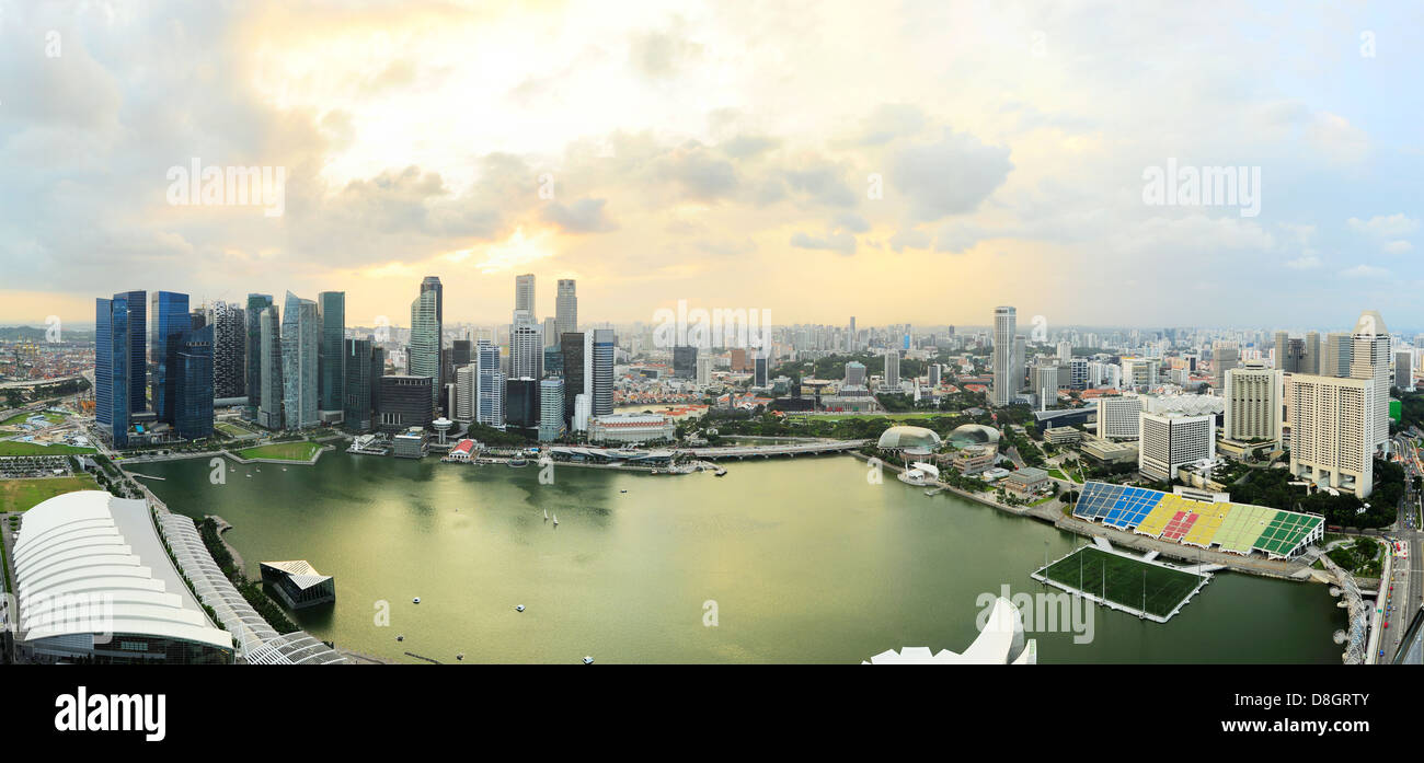 Bird's-eye view of Singapore at sunset - Stock Image